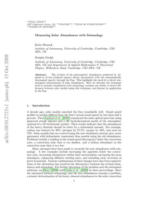 Katie Mussack - Measuring Solar Abundances with Seismology