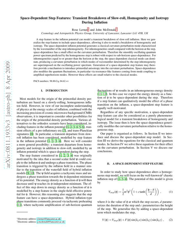 Rose Lerner - Space-Dependent Step Features: Transient Breakdown of Slow-roll, Homogeneity and Isotropy During Inflation