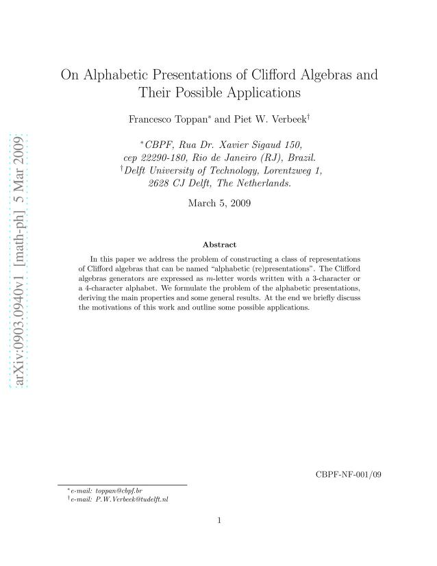 Francesco Toppan - On Alphabetic Presentations of Clifford Algebras and Their Possible Applications