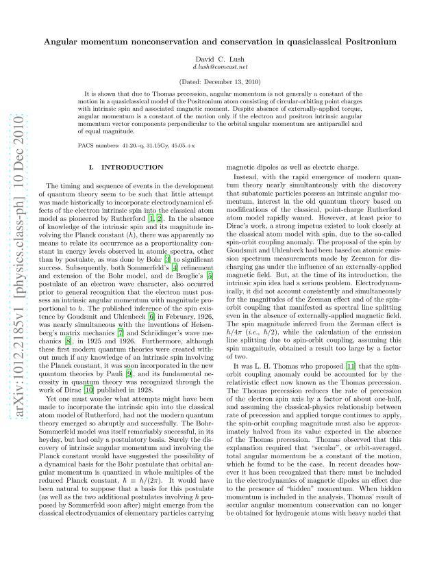 David C. Lush - Angular momentum nonconservation and conservation in quasiclassical Positronium