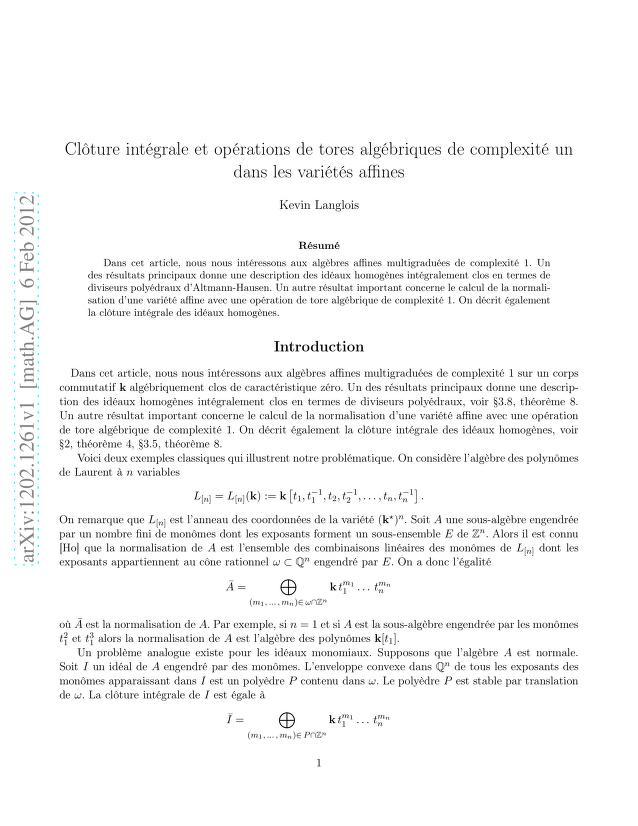 Kevin Langlois - Clôture intégrale et opérations de tores algébriques de complexité un dans les variétés affines