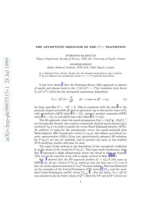 Dubravko Klabucar - The asymptotic behavior of the pi^0 gamma^* gamma transition