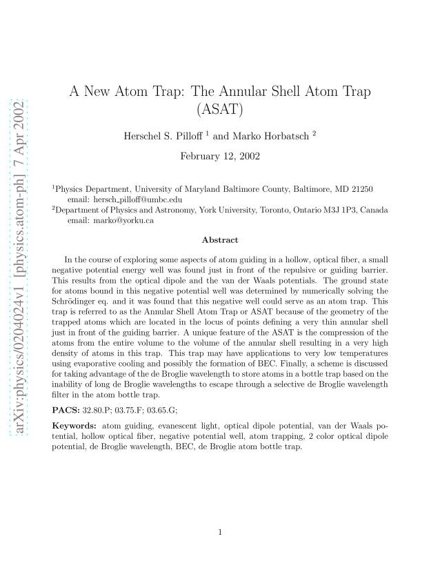 Herschel S. Pilloff - A New Atom Trap: The Annular Shell Atom Trap (ASAT)