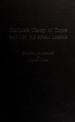 Cover of: Ockham's theory of terms, part 1 of the Summa logicae | William of Ockham