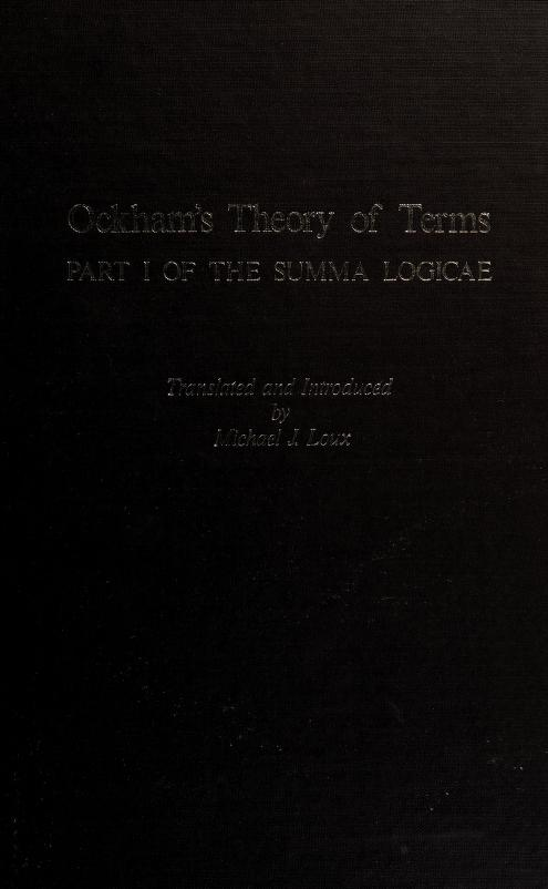 Ockham's theory of terms, part 1 of the Summa logicae by William of Ockham